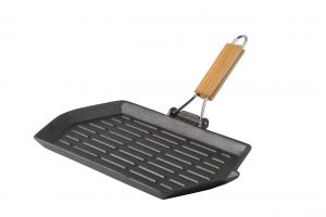 Abdoolally Quality Cast Iron Pre-Seasoned Rectangular Griddle with Foldable Handle, 21x35cm