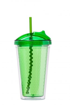 Abdoolally Quality Plastic Double Wall Tumbler with Straw, 16oz